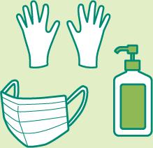 手袋・マスク・消毒液のイラスト